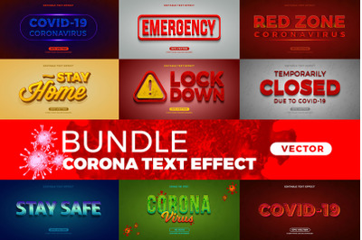 Bundle Corona editable font effect text vector