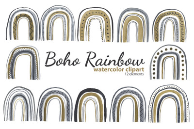 Watercolor Boho Rainbow Clipart