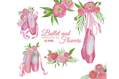 Ballet Shoes and Watercolor Ranunculus Flowers PNG Clipart.