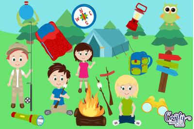 Camping Kids Clip Art, Summer Camp Clipart, Camp Graphics