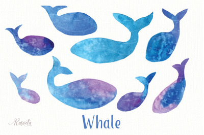 Whale Watercolor Silhouette