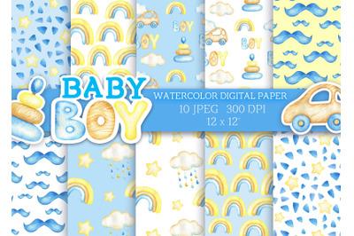 Watercolor digital paper baby boy patterns car toy rainbow cloud scrap