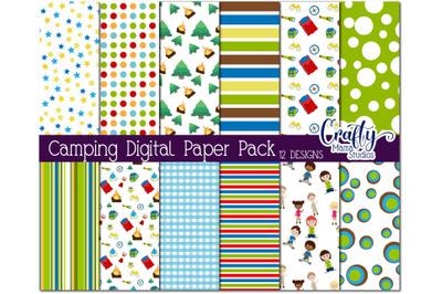 Camping Kids Digital Paper Pack, Summer Camp Scrapbook Paper