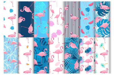 Tropical pink flamingo set of seamless patterns