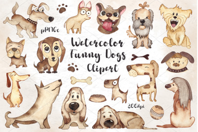 Watercolor funny Dogs Clipart