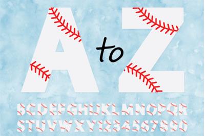 Baseball Alphabet & Numbers SVG,  Baseball Monogram.