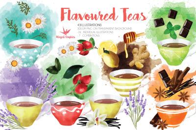Flavored tea watercolor illustration set