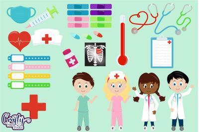 Doctor Clipart, Nurse Clip Art, Hospital Vector Graphics