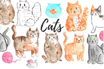 Watercolor Cat Clip art