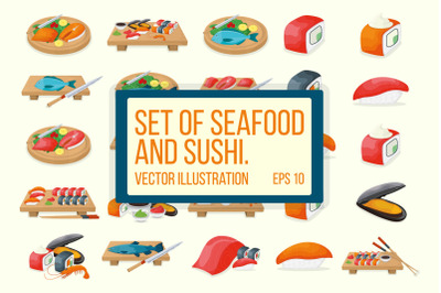 Set of seafood and sushi.