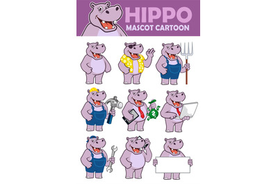 Hippopotamus mascot cartoon in vector