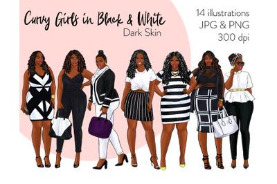 Watercolor Fashion Clipart - Curvy Girls in Black & White - Dark skin