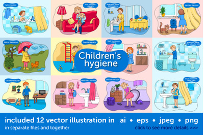 Baby hygiene vector illustration set