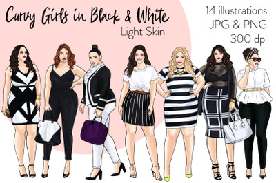 Watercolor Fashion Clipart - Curvy Girls in Black & White - Light skin