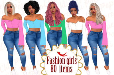 Fashion girl clipart,Afro girls clipart,Curvy girl clipart