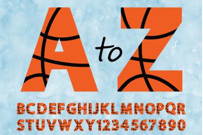 Basketball Alphabet & Numbers SVG, Basketball Alphabet Clipart.