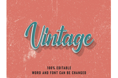Vintage Text Effect Editable Color with Grunge Style Retro