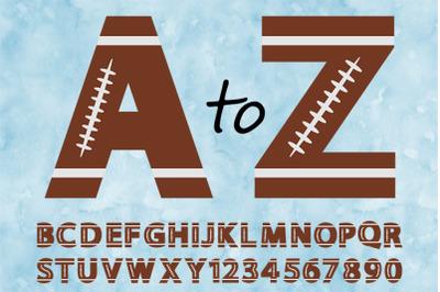 Football Alphabet & Numbers SVG, Football Alphabet Clipart.