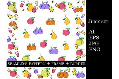 Colorful juicy set: doodle vector illustrations
