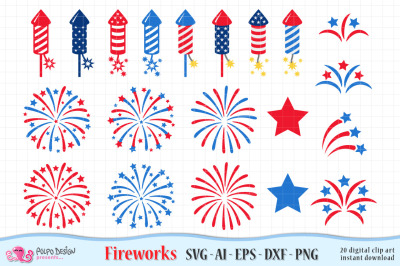 4th of July Fireworks SVG, Eps, Dxf, Ai and Png
