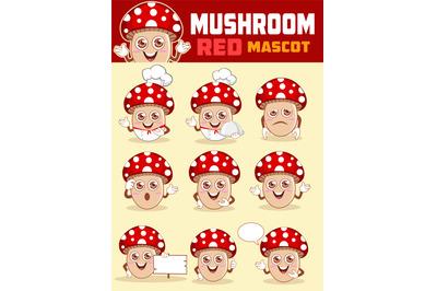 Mushroom mascot cartoon