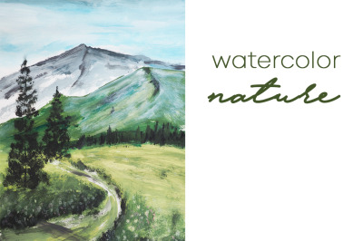 watercolor nature and landscape with tree and hill