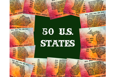 US States Svg Bundle, Map Svg, 50 Mandala svg, Zentangle SVG, Paper cu