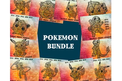 Pokemon Bundle Svg, Anime svg, Mandala svg, Zentangle SVG, Paper cutti