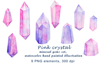 pink crystal mineral gems set, watercolor hand painted