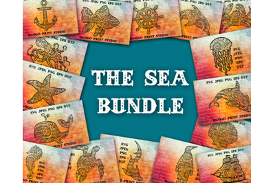 Sea Bundle Svg, Animal svg, 20 Mandala svg, Zentangle SVG, Paper cutti