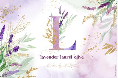 Lavender Laurel Olive Gold Watercolor