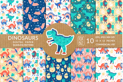 Little dinosaurs hand drawn flat vector patterns.