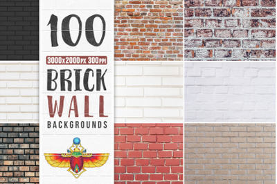 100 Brick Wall Backgrounds Pack
