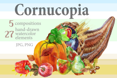 Watercolor cornucopia