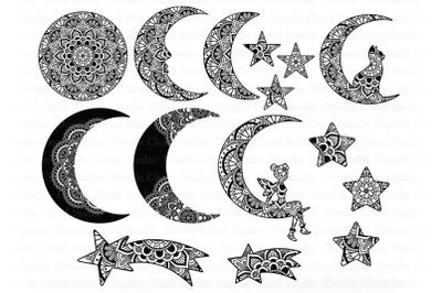 Moon SVG Bundle Mandala, Mandala Cat and Moon, Fairy Moon Svg.
