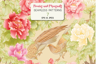 Peony tree branch with flowers with pheasants