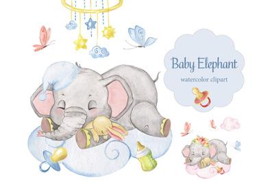Watercolor Baby Elephant clipart. Elephant sleeping on a cloud.