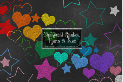 Chalkboard Rainbow Hearts and Stars