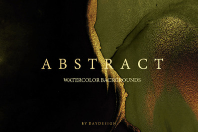 Abstract Watercolor Gold Green Backgrounds