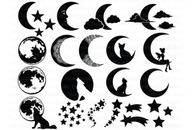 Moon Bundle SVG, Cat and Moon, Fairy Moon Svg, Half Moon.