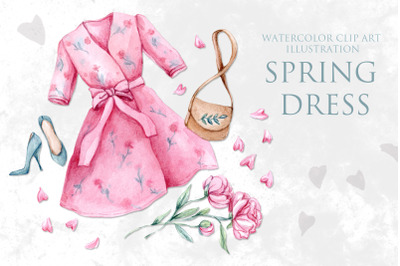 Watercolor clipart Spring Dress