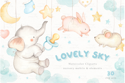 Lovely Sky Watercolor Clip Arts