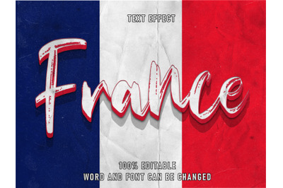France Text Style Effect Editable Font Paper Texture  Style Vintage