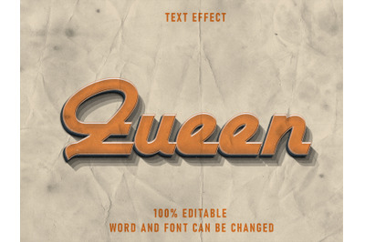 Queen Text Style Effect Editable Font  With Paper Texture