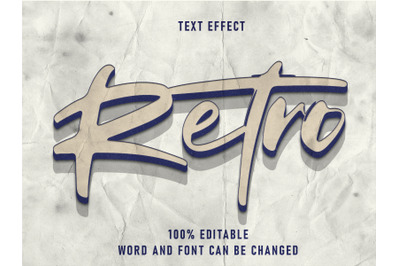 Retro Text Style Effect Editable Font Paper Texture  Style Vintage