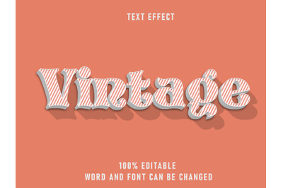 Vintage Type Striped Text Style Effect Editable Font Clean Background