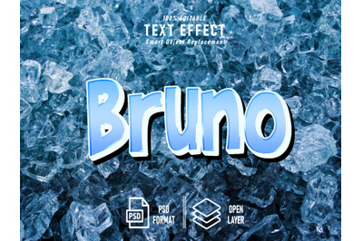 Bruno Text Effect Template Ice Background