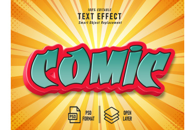 Comic Text Effect Template Vintage Solid Striped Background