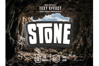 Stone Text Effect Template Cave