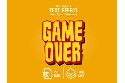 Game Over Game Text Effect Template Editable